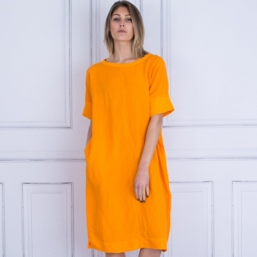 Alona T Shirt And Linen Round Neck Loose Dress In Orange