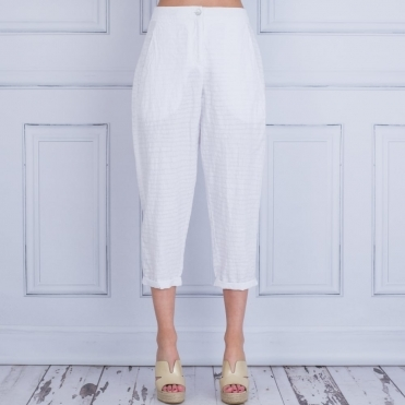 Bedri Printed Linen Trouser In White