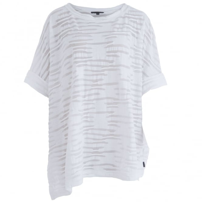 OSKA Naryana Burn Out Stripe Scoop Neck Top in White
