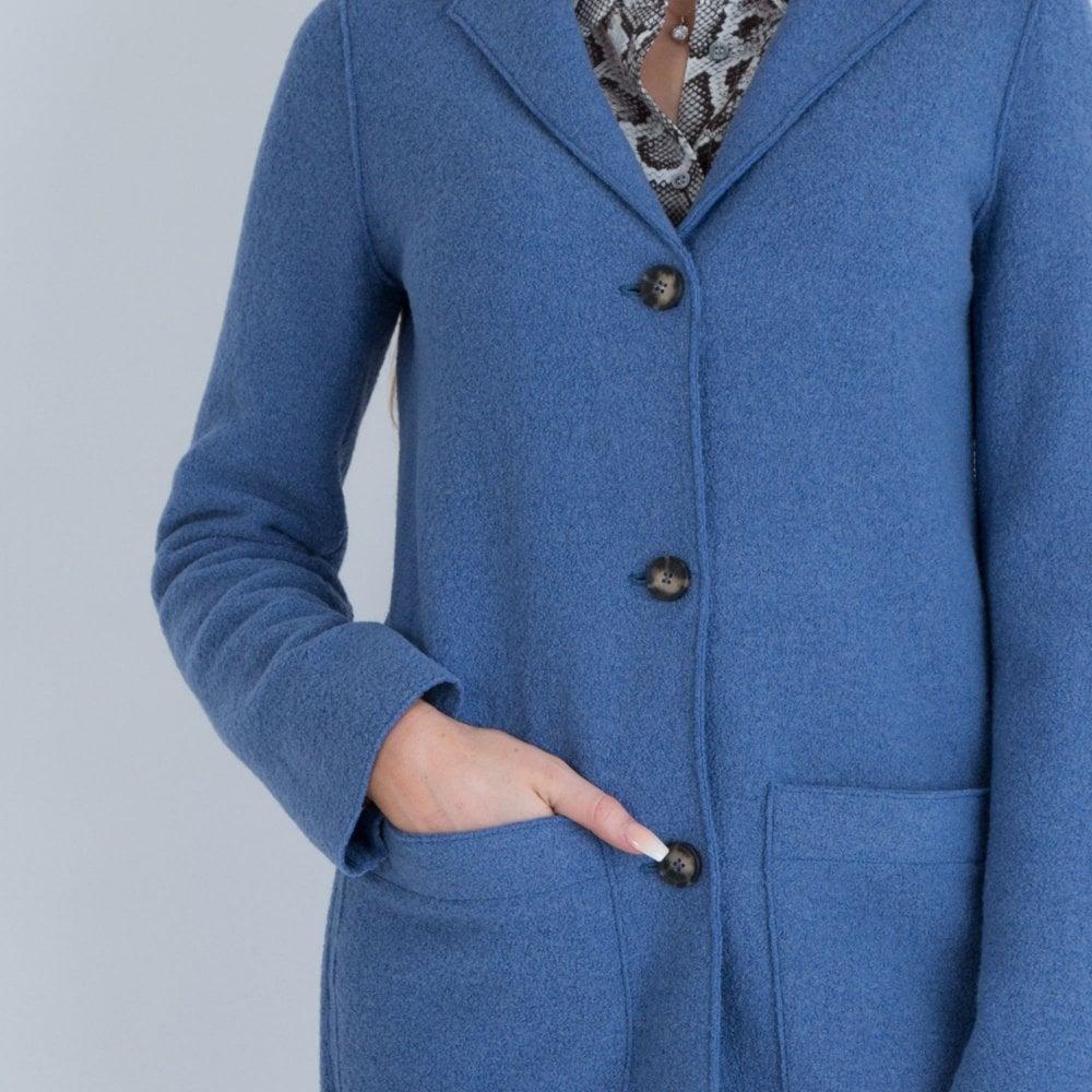 Oui Black Boiled Wool Jacket Coats