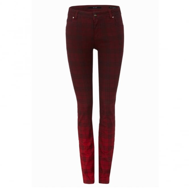 OUI COLLECTION Faded Check Jean in Red