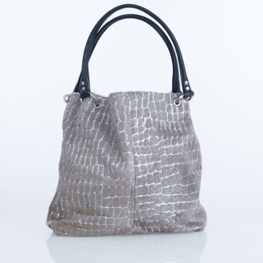 Dudley Silver Hair Pebble Shoulder Bag In Silver