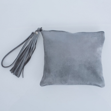 Edoba Clutch Bag With Tassel & Wrist Strap In Metallic Oyster