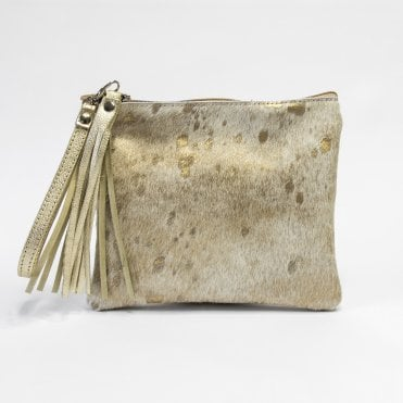 Edoba Clutch Bag With Tassel & Wrist Strap In Mottled Gold