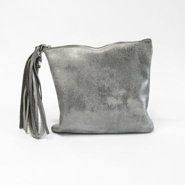 Edoba Clutch Bag With Tassel & Wrist Strap In Mottled Silver