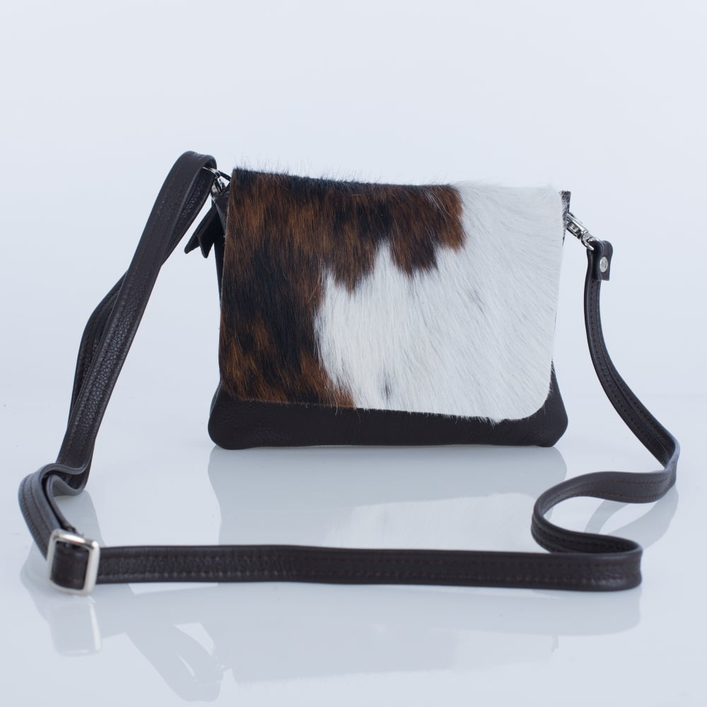 d8bc74ed8341 Owen Barry Remus Leather Crossbody Bag In Brown & Cream
