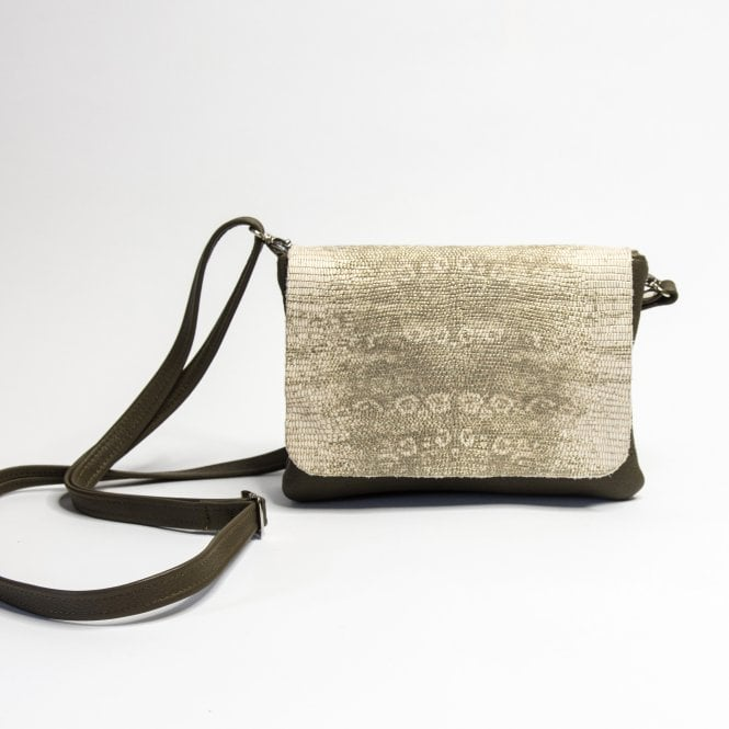 OWEN BARRY Remus Leather Crossbody Bag In Taupe & Silver & Gold Snake