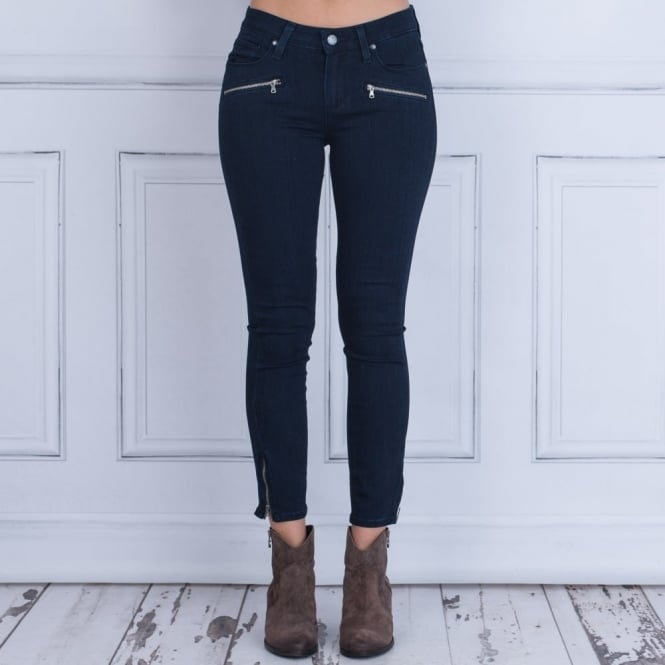 PAIGE JEANS Mid Rise Super Skinny Jean With Zip In Alley Dark Blue Wash
