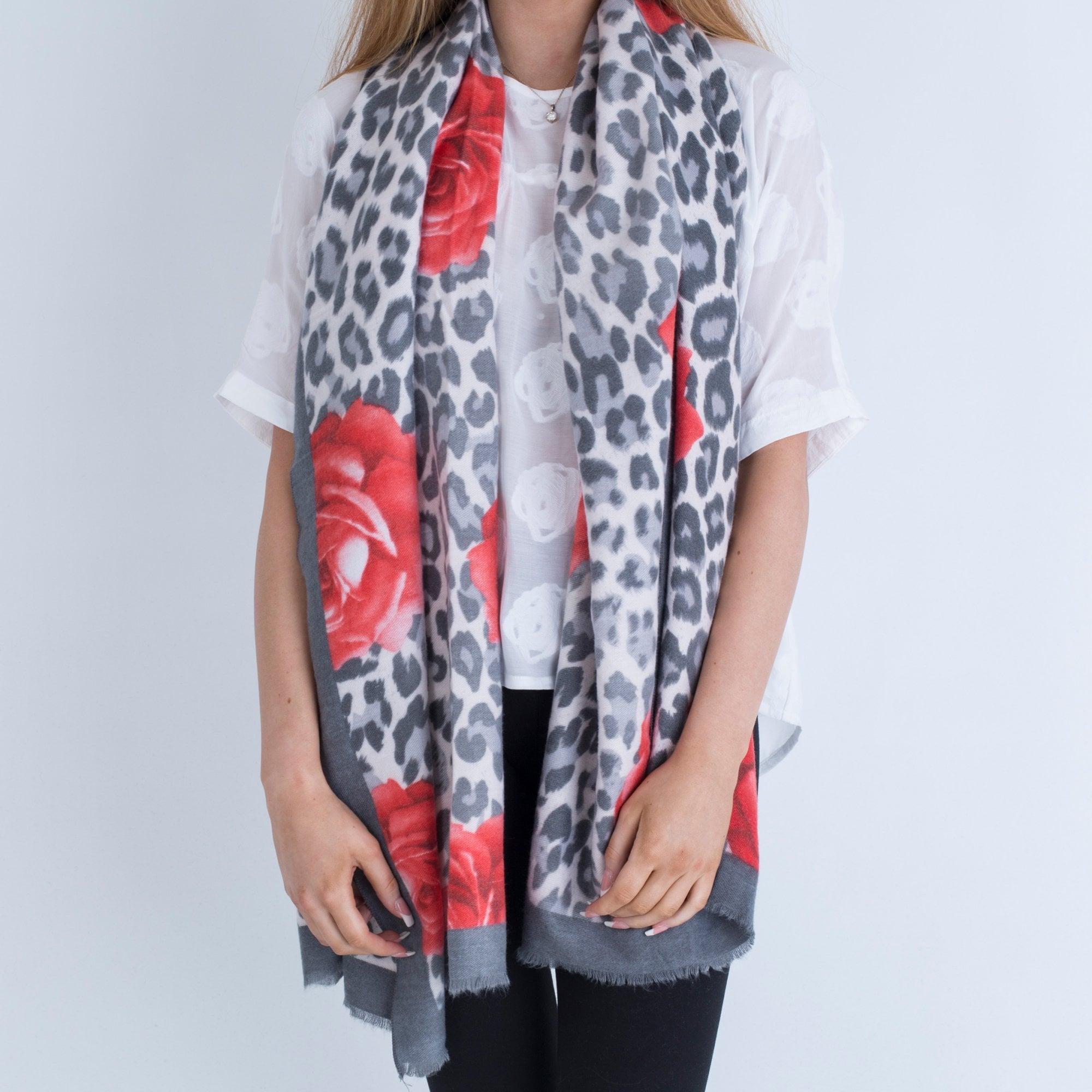 Park Lane Leopard And Rose Print Pashmina Grey