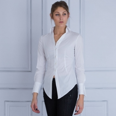 Shirt Fitted Point Front And Cuff In White