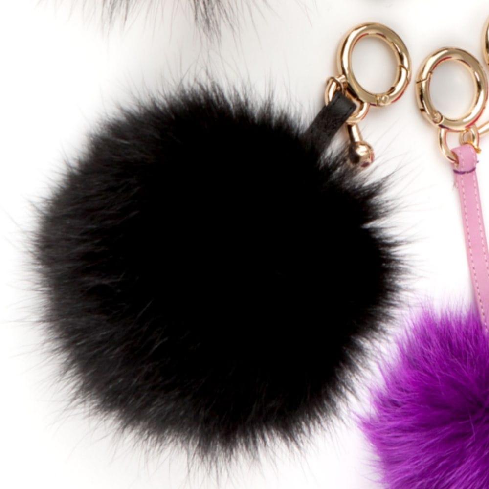 Pompom Poodle Fur Pompom Keyring in Black c3f2bd6b42bd4