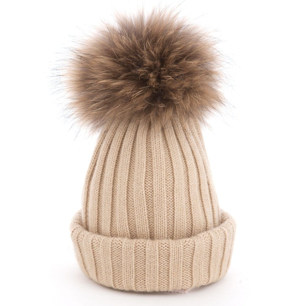 Pom Pom Poodle Olivia Knitted Hat with Big Fur Pompom in Beige dd8ac2eea6dd