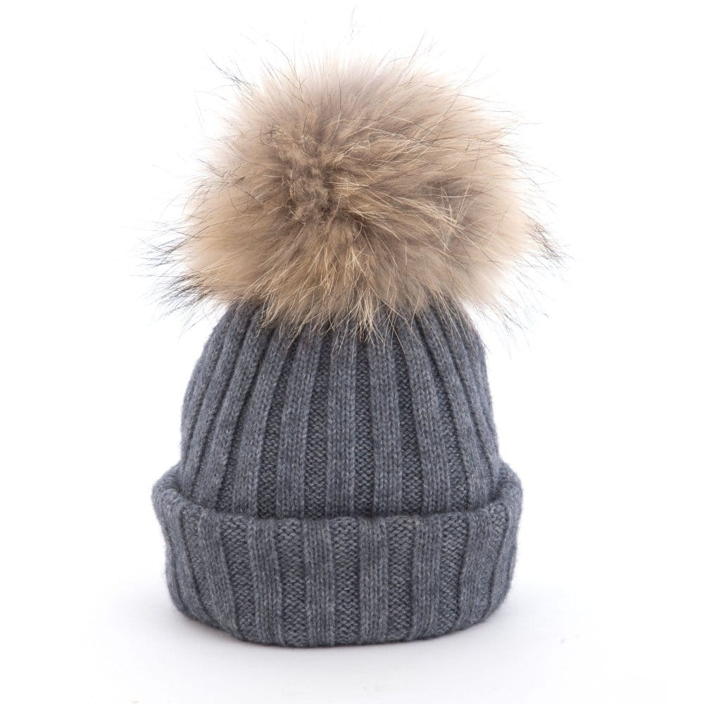 Pom Pom Poodle Olivia Knitted Hat with Big Fur Pompom in Grey c98884a95744