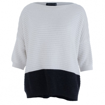 Colour Block Jumper Horizontal Ribbed Knit In Black & Cream