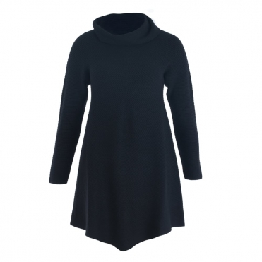 Cowl Neck Dip Front Tunic Jumper In Black