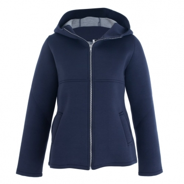 Hooded Jacket With Contrast Lining In Navy