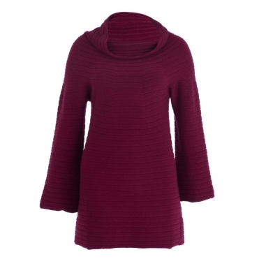 Knitted Ribbed Funnel Sleeve Cowl Tunic In Bordeaux