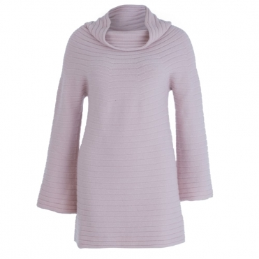 Knitted Ribbed Funnel Sleeve Cowl Tunic In Rose