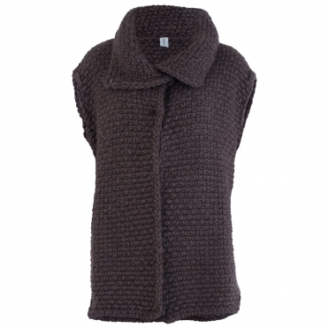 Large Waffle Oversize Gilet In Brown