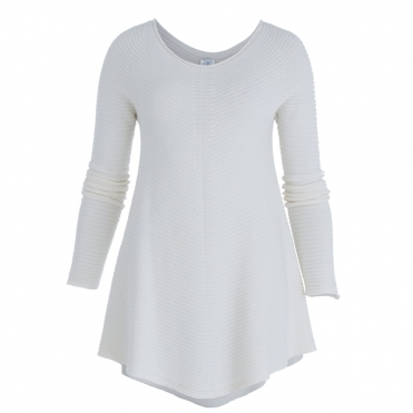 Ribbed Dip Front Wide Neck Tunic Jumper In Panna