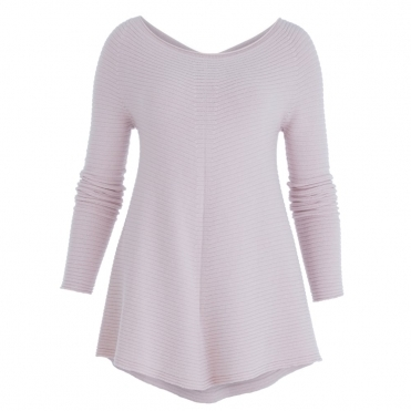Ribbed Dip Front Wide Neck Tunic Jumper Rose