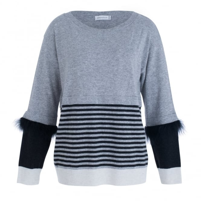 POUR MOI Stripe And Feather Arm Trim Jumper In Grey & Black