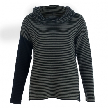 Stripe Jumper With Cowl Neck And Plain Back In Khaki & Black