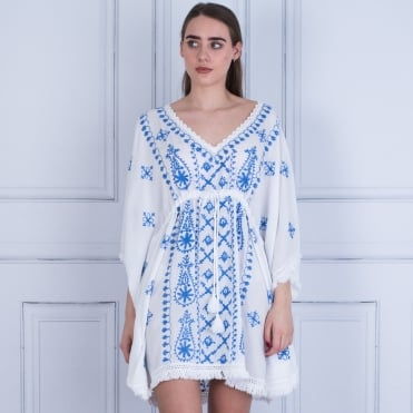Pranella BEBE Fringed Edge Embroided Kaftan With Tie White/blue