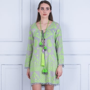 Pranella Embroided Tie Front Dress With Pompom Edge Grey/lime