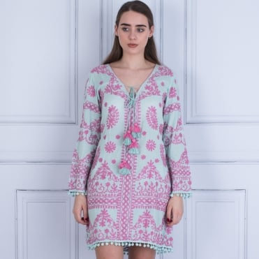 Pranella Embroided Tie Front Dress With Pompom Edge Mint/pink