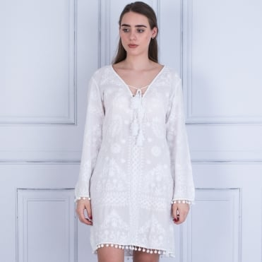 Pranella Embroided Tie Front Dress With Pompom Edge White