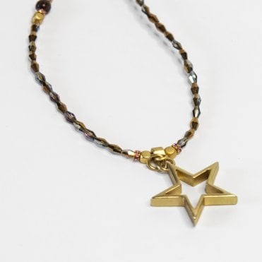 Fine Crystal Bead Necklace With Star Pendant In Dark Brown