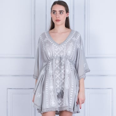 Pranella Fringed Edge Embroided Kaftan With Tie Grey/white