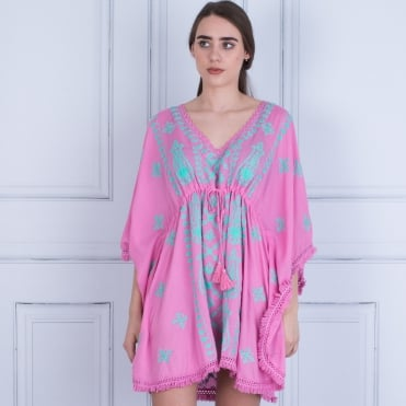 Pranella Fringed Edge Embroided Kaftan With Tie Pink/mint