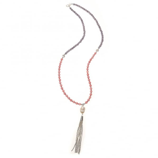 PRANELLA Paxton Pearl Pendant Necklace With Silver Tassel in Pink & Grey