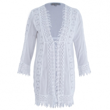 Short Embroidered Cotton Kaftan With Tie Front In White