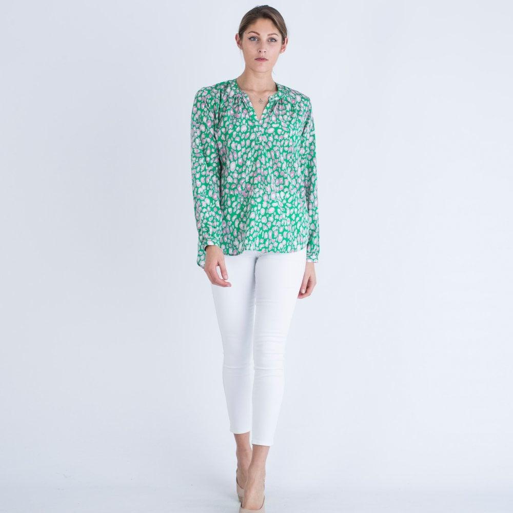 796a0265fb479f Primrose Park Leopard Print Silk Blouse Green
