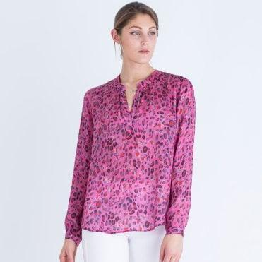 83188862be5b0a Primrose Park Leopard Print Viscose Blouse Dark Pink