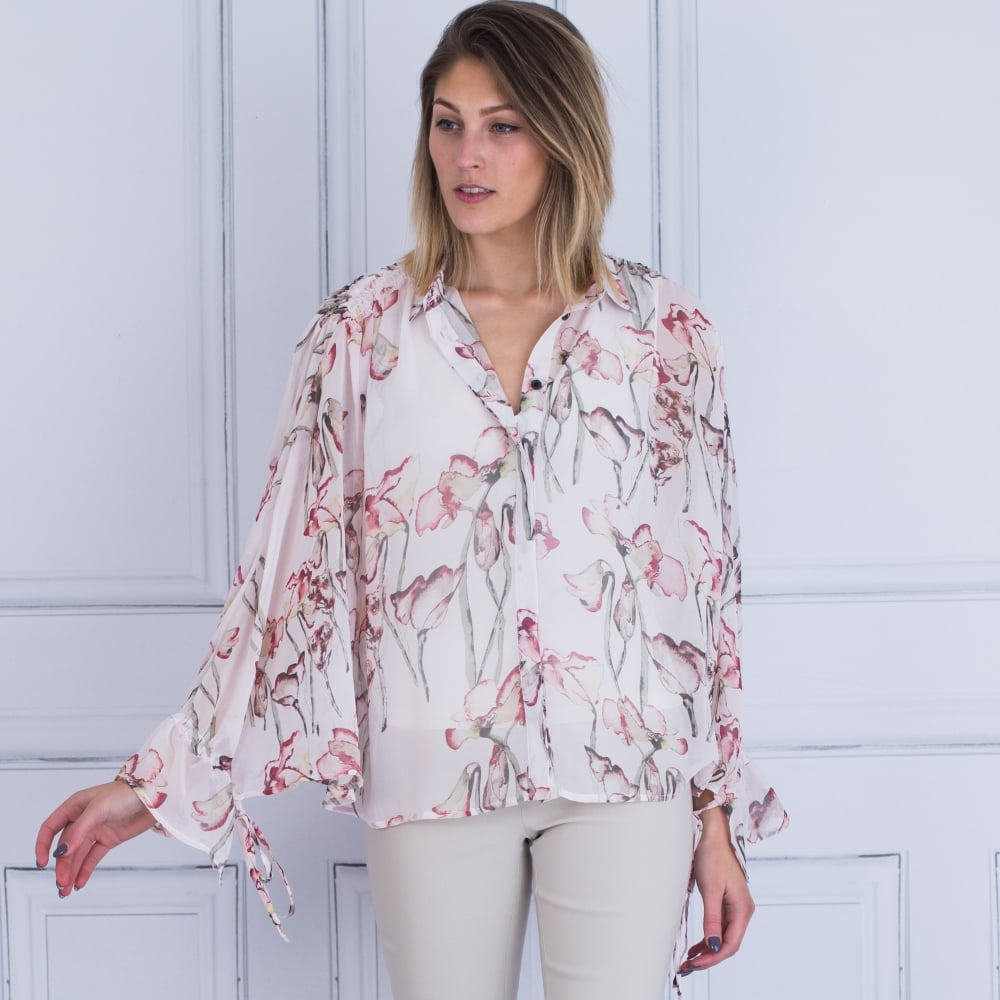cfa2c90caf1a0 Religion 58HCRH49 Care Tie Sleeve Floral Blouse In Pink White