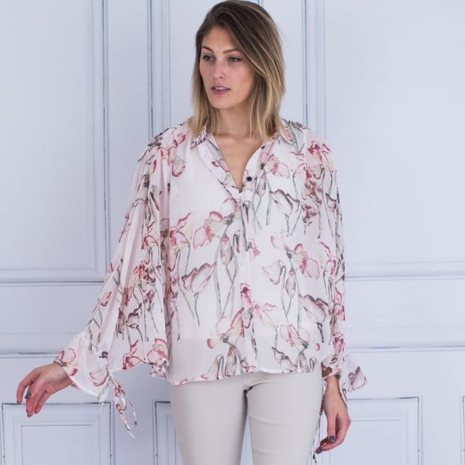 RELIGION Care Tie Sleeve Floral Blouse In Pink/White