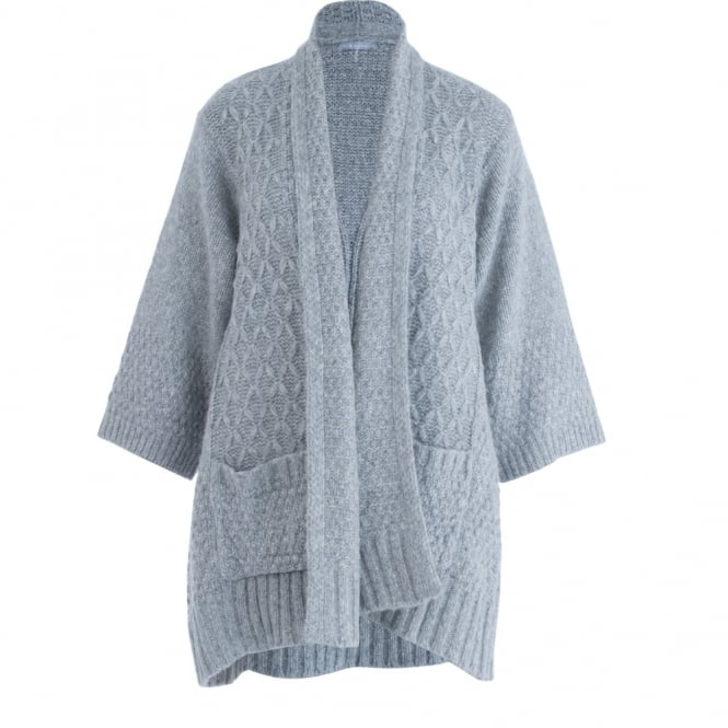 REPEAT Cable Knit Cardigan In Light Grey