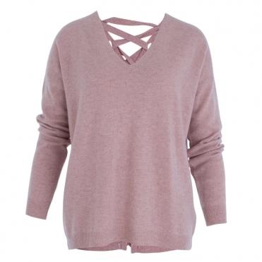 Lace Up Back V Neck Jumper In Rose Pink 72807a269