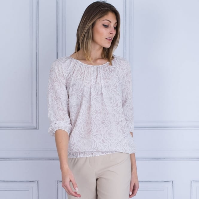 REPEAT Round Neck Elasticated Hem Blouse In Off White & Mauve