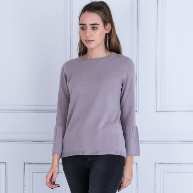REPEAT Round Neck Gathered Bell Sleeve Jumper In Mauve