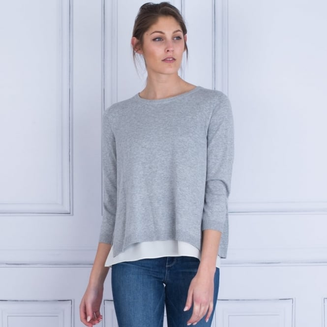REPEAT Round Neck Jumper With Lining & Cream Bow Tie Back In Grey