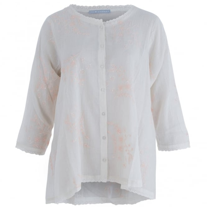 REPEAT Sequin And Embroidered Blouse In Cream