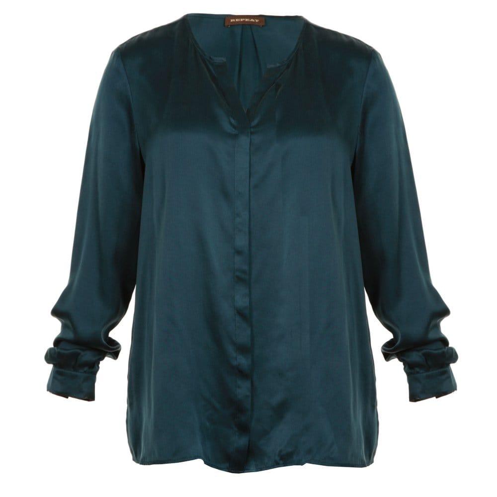 1aac659c947a45 Repeat Silk Collarless Blouse in Dark Green