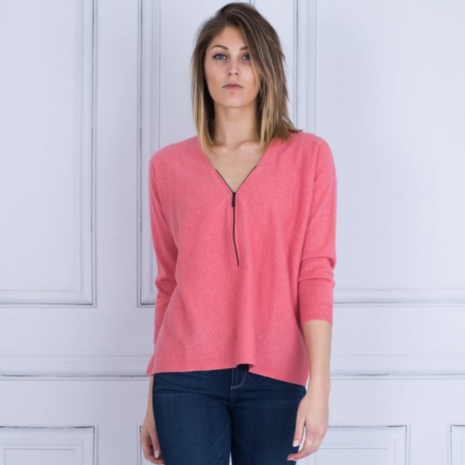 REPEAT Zip Front Knit Jumper In Coral