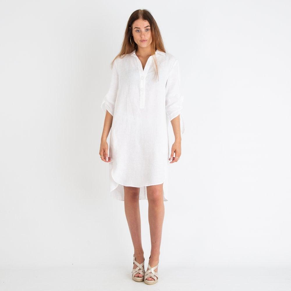 RIANI Riani Button Down Linen Shirt Dress White