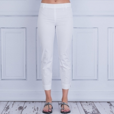 Cotton Pull On Pant In White